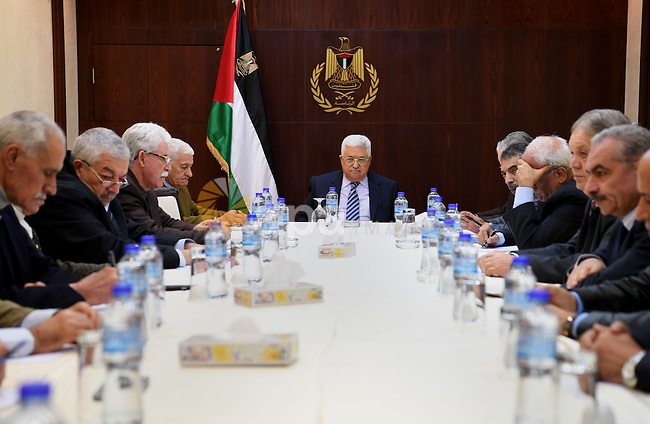 Palestinian President Mahmoud Abbas chairs the meeting of Central Committee of the Fatah movement in the West Bank city of Ramallah, on December 26, 2016. Photo by Osama Falah