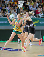 04.09.2016 Silver Ferns Katrina Grant and Australia's Natalie Medhurst in action during the Netball Quad Series match between the Silver Ferns and Australia played at Margaret Court Arena in Melbourne. Mandatory Photo Credit ©Michael Bradley.