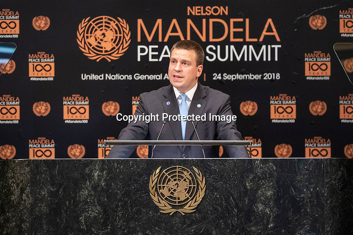 Opening Plenary Meeting of the Nelson Mandela Peace Summit<br /> <br /> His Excellency J iri RATASPrime Minister of the Republic of Estonia