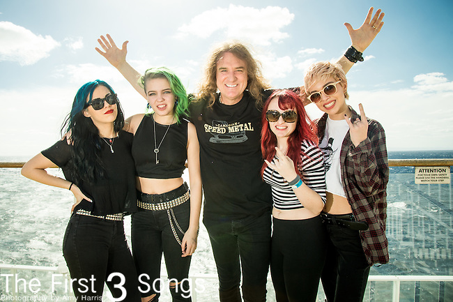 David Ellefson with Sydney Dolezal, Alex Snowden, Nicole Rich, and Meghan Shea Herring of Doll Skin at the 2016 ShipRocked Cruise. ShipRocked set sail January 18-22, 2016, from Miami to Costa Maya, Mexico on the Norwegian Pearl.