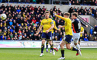 Olly Lee of Luton Town scores his teams second goal during the Sky Bet League 2 match between Oxford United and Luton Town at the Kassam Stadium, Oxford, England on 16 April 2016. Photo by Liam Smith.