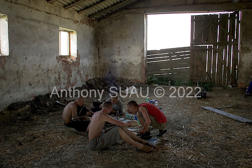 Fertesholmash, Ukraine.June 4, 2005 ..After gathering hey for animals in a field that borders both Romania and Hungary workers come into a barn to eat lunch. The field was once a great collective farm but is now divided into smaller private fields. ..During the presidential elections in December 2004 the village voted for Yanakovich on the first round due to political pressures but for Yuschenko in the final round.