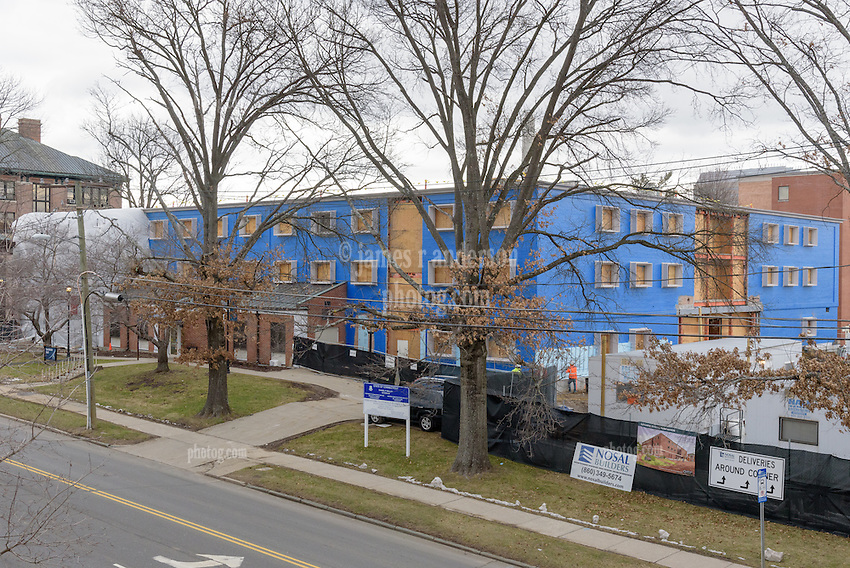 Major Renovation Litchfield Hall WCSU Danbury CT<br /> Connecticut State Project No: CF-RD-275<br /> Architect: OakPark Architects LLC  Contractor: Nosal Builders<br /> James R Anderson Photography New Haven CT photog.com<br /> Date of Photograph: 27 January 2017<br /> Camera View: 25 - South and East Elevations
