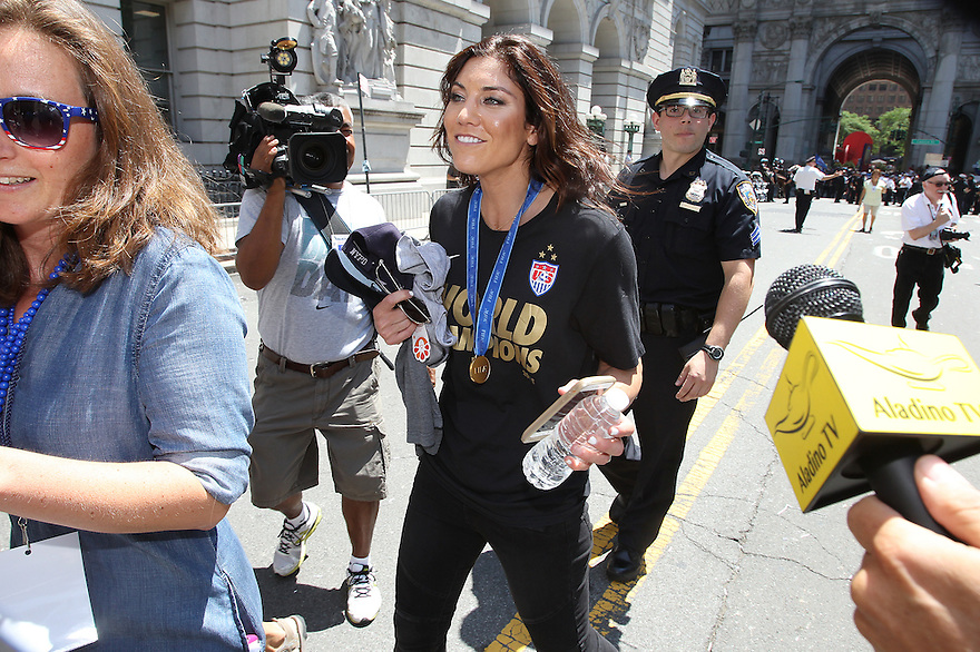 US Women's Soccer playerHope Solo is seen during New York City Ticker Tape Parade For World Cup Champions U.S. Women's Soccer National Team on July 10, 2015 in New York City.(AP Photo/ Donald Traill)