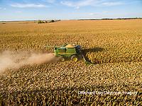 63801-08406 Corn Harvest, John Deere combine harvesting corn - aerial Marion Co. IL