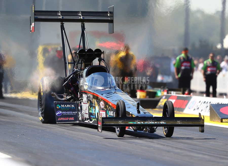 Mar 17, 2017; Gainesville , FL, USA; NHRA top fuel driver Scott Palmer during qualifying for the Gatornationals at Gainesville Raceway. Mandatory Credit: Mark J. Rebilas-USA TODAY Sports