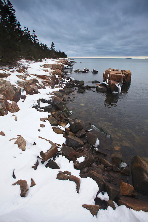 A winter storm brews over Frenchman Bay and the Schoodic Peninsula in Acadia National Park, Maine, USA