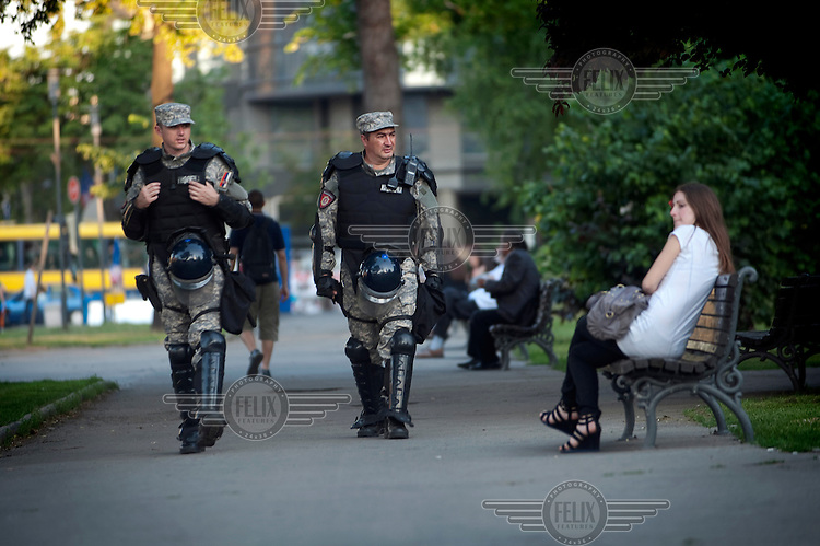 Special police units patrol near the Parliament in central Belgrade. Ratko Mladic has been arrested by Serbian security forces on charges of genocide, crimes against humanity and war crimes. He is one of the most sought after suspects from the Bosnia conflict and is facing extradition.