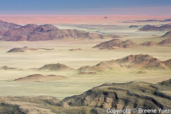 Namib Desert red sand landscape aerial view, Namibia, April 2008