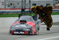 Sept. 1, 2012; Claremont, IN, USA: NHRA funny car driver Blake Alexander during qualifying for the US Nationals at Lucas Oil Raceway. Mandatory Credit: Mark J. Rebilas-