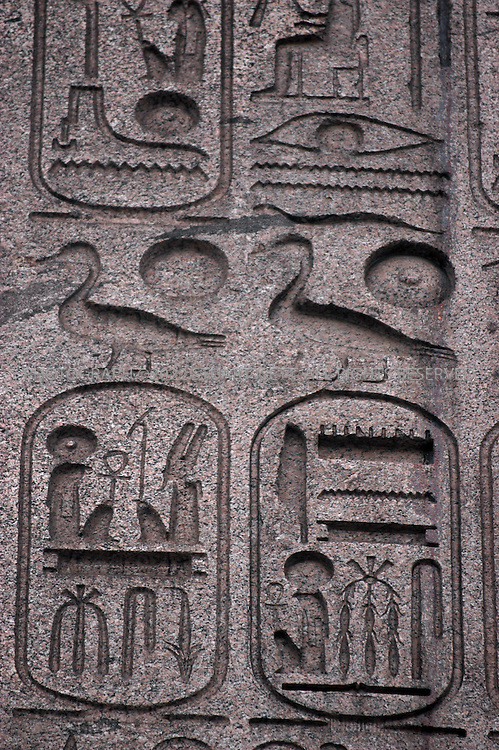 12/3/2003--Paris, France..Detail of hyeroglyphs on the 3200 year old obelisk from Luxor Egypt which was presented as a gift to King Louis-Philippe and now stands in the Place de la Concorde in central Paris...All photographs ©2003 Stuart Isett.All rights reserved.This image may not be reproduced without expressed written permission from Stuart Isett.