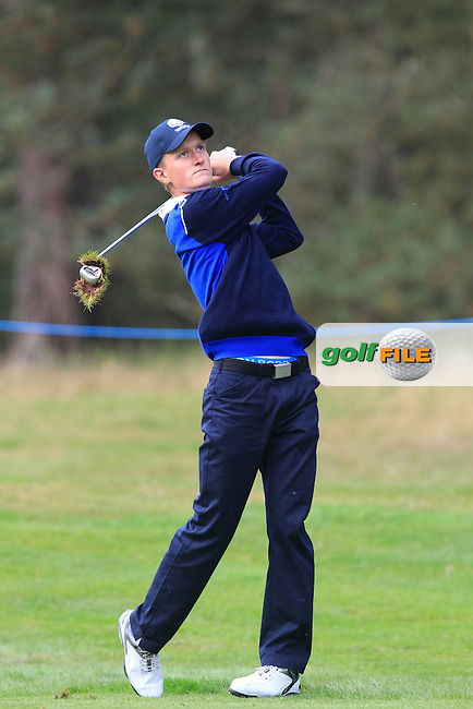 Marcus Kinhult (SWE) on the 2nd hole of the Mixed Fourballs during the 2014 JUNIOR RYDER CUP at the Blairgowrie Golf Club, Perthshire, Scotland. <br /> Picture:  Thos Caffrey / www.golffile.ie