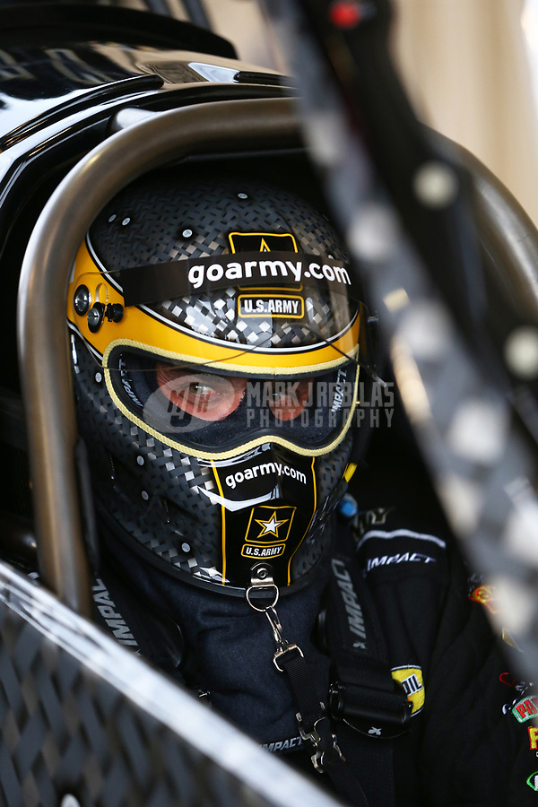 Jul 21, 2017; Morrison, CO, USA; NHRA top fuel driver Tony Schumacher during qualifying for the Mile High Nationals at Bandimere Speedway. Mandatory Credit: Mark J. Rebilas-USA TODAY Sports