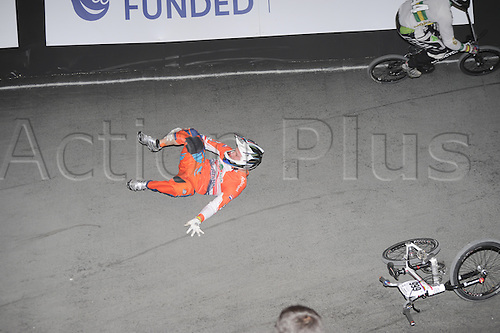 05.26.2012. England, Birmingham, National Indoor Arena. UCI BMX World Championships. Ivo van der PUTTEN (666) crashes out during action for Nederlands at the NIA
