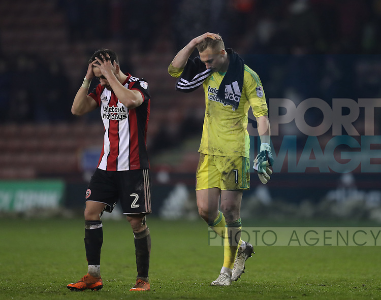 George Baldock of Sheffield Utd and Simon Moore of Sheffield Utd frustrated during the Championship match at Bramall Lane Stadium, Sheffield. Picture date 02nd April, 2018. Picture credit should read: Simon Bellis/Sportimage