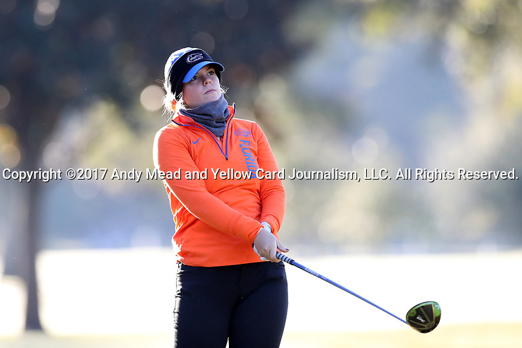 WILMINGTON, NC - OCTOBER 27: Florida's Marta Perez (ESP) on the 11th tee. The first round of the Landfall Tradition Women's Golf Tournament was held on October 27, 2017 at the Pete Dye Course at the Country Club of Landfall in Wilmington, NC.