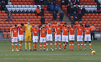 Blackpool players stand in silence to remember the clubs fans who passed away in 2017<br /> <br /> Photographer Stephen White/CameraSport<br /> <br /> The EFL Sky Bet League One - Blackpool v Bristol Rovers - Saturday 13th January 2018 - Bloomfield Road - Blackpool<br /> <br /> World Copyright &copy; 2018 CameraSport. All rights reserved. 43 Linden Ave. Countesthorpe. Leicester. England. LE8 5PG - Tel: +44 (0) 116 277 4147 - admin@camerasport.com - www.camerasport.com