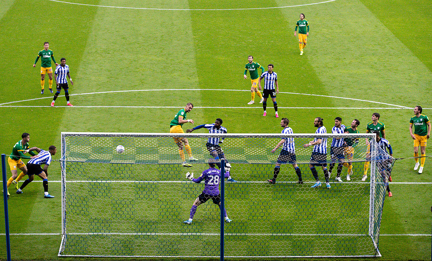 Preston North End's Patrick Bauer goes close with a header<br /> <br /> Photographer Alex Dodd/CameraSport<br /> <br /> The EFL Sky Bet Championship - Sheffield Wednesday v Preston North End - Wednesday 8th July 2020 - Hillsborough - Sheffield<br /> <br /> World Copyright © 2020 CameraSport. All rights reserved. 43 Linden Ave. Countesthorpe. Leicester. England. LE8 5PG - Tel: +44 (0) 116 277 4147 - admin@camerasport.com - www.camerasport.com