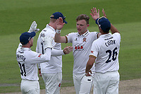Sam Cook of Essex celebrates taking the wicket of Liam Livingstone during Lancashire CCC vs Essex CCC, Specsavers County Championship Division 1 Cricket at Emirates Old Trafford on 9th June 2018