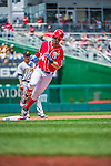 21 June 2015: Washington Nationals outfielder Bryce Harper rounds the bases after hitting a two-run homer to open the scoring in the first inning against the Pittsburgh Pirates at Nationals Park in Washington, DC. The Nationals defeated the Pirates 9-2 to sweep their 3-game weekend series, and improve their record to 37-33. Mandatory Credit: Ed Wolfstein Photo *** RAW (NEF) Image File Available ***