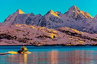 A boat departs the harbor in Svolvaer, on Austvagoya Island, Lofoten Islands, Arctic, Northern Norway.