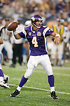 A Minnesota Vikings quarterback Brett Favre (4) throws a pass during an NFL football game against the Detroit Lions in Minneapolis, Minnesota on September 26, 2010. The Vikings won 24-10. (AP Photo/David Stluka)