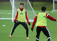 Pictured: Tom Carroll Tuesday 13 January 2014<br /> Re: Swansea City FC training at Fairwood near Swansea, south Wales.