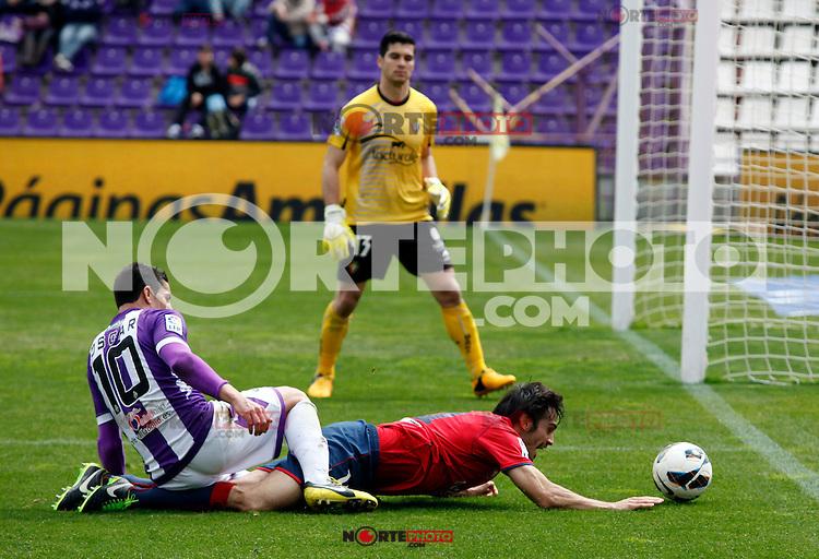 Real Valladolid´s Oscar and Osasuna´s Alejandro Arribas during match of La Liga 2012/13. 31/03/2013. Victor Blanco/Alterphotos /NortePhoto