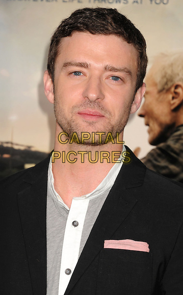 """Justin Timberlake.""""Trouble With The Curve"""" Los Angeles Premiere held at the Regency Village Theatre, Westwood, California, USA..September 19th, 2012.headshot portrait black grey gray white stubble facial hair .CAP/ROT/TM.©Tony Michaels/Roth Stock/Capital Pictures"""