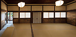 Traditional Japanese interior with tatami mats and painted shoji sliding screens in Sanbo-in, Sanboin Buddhist temple of Daigo-ji complex in Fushimi-ku, Kyoto, Japan