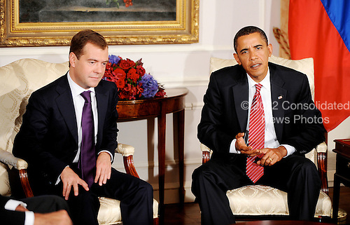 New York, NY - September 23, 2009 -- United States President Barack Obama addresses the media as President Dmitri Medvedev of Russia looks on after after a bilateral meeting at the Waldorf Astoria on Wednesday, September 23, 2009 in New York..Credit: Olivier Douliery - Pool via CNP