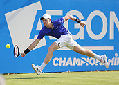 June 19th 2017, Queens Club, West Kensington, London; Aegon Tennis Championships, Day 1; Kyle Edmund of Great Britain stretches out to play a volley versus Denis Shapovalov of Canada