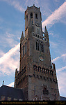 Belfort Bell Tower 1240, North Side at Sunrise, Market Square, Bruges, Brugge, Belgium