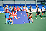 The Hague, Netherlands, June 01: Players of New Zealand line up with flag of New Zealand in front prior to the match during the field hockey group match (Men - Group B) between the Black Sticks of New Zealand and Korea on June 1, 2014 during the World Cup 2014 at GreenFields Stadium in The Hague, Netherlands. Final score 2:1 (1:0) (Photo by Dirk Markgraf / www.265-images.com) *** Local caption ***