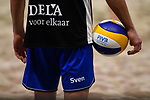 04.01.2019, Den Haag, Sportcampus Zuiderpark<br />Beachvolleyball, FIVB World Tour, 2019 DELA Beach Open<br /><br />Feature Ball / Hand / Sven Winter (#2 GER)<br /><br />  Foto &copy; nordphoto / Kurth