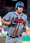 8 July 2017: Atlanta Braves first baseman Matt Adams rounds the bases after hitting a 3-run homer in the 9th inning against the Washington Nationals at Nationals Park in Washington, DC. The Braves shut out the Nationals 13-0 to take the third game of their 4-game series. Mandatory Credit: Ed Wolfstein Photo *** RAW (NEF) Image File Available ***