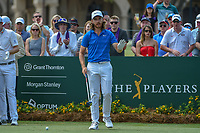 Tommy Fleetwood (ENG) is introduced on the first tee during round 3 of The Players Championship, TPC Sawgrass, at Ponte Vedra, Florida, USA. 5/12/2018.<br /> Picture: Golffile | Ken Murray<br /> <br /> <br /> All photo usage must carry mandatory copyright credit (&copy; Golffile | Ken Murray)