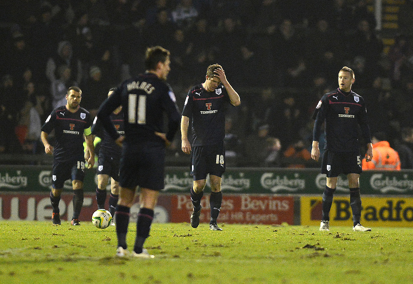 Preston North End players look dejected after Yeovil Town go 2-1 ahead ..Football - npower Football League Division One - Yeovil Town v Preston North End - Tuesday 12 th 2013 - Huish Park - Yeovil..© CameraSport - 43 Linden Ave. Countesthorpe. Leicester. England. LE8 5PG - Tel: +44 (0) 116 277 4147 - admin@camerasport.com - www.camerasport.com