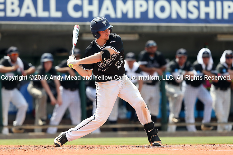 04 June 2016: Nova Southeastern's Daniel Zardon. The Nova Southeastern University Sharks played the Millersville University Marauders in Game 14 of the 2016 NCAA Division II College World Series  at Coleman Field at the USA Baseball National Training Complex in Cary, North Carolina. Nova Southeastern won the game 8-6 and clinched the NCAA Division II Baseball Championship.
