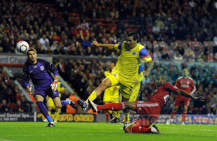 David N'Gog of Liverpool attempts a volley on goal