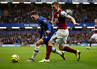 11th January 2020; Stamford Bridge, London, England; English Premier League Football, Chelsea versus Burnley; Chris Wood of Burnley is challenged by Andreas Christensen of Chelsea - Strictly Editorial Use Only. No use with unauthorized audio, video, data, fixture lists, club/league logos or 'live' services. Online in-match use limited to 120 images, no video emulation. No use in betting, games or single club/league/player publications