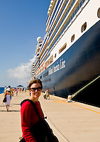 Emily poses by the ms Eurodam in Grand Turk, Turk and Caicos islands, on Feb. 6, 2012
