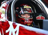 Jun 10, 2017; Englishtown , NJ, USA; NHRA top fuel driver Leah Pritchett during qualifying for the Summernationals at Old Bridge Township Raceway Park. Mandatory Credit: Mark J. Rebilas-USA TODAY Sports