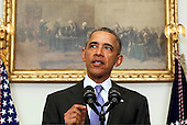 United States President Barack Obama delivers a statement on the relations between US and Iran, including the implementation of the Iranian Arms Deal, release of the US hostages that were held in Iran, and new US sanctions over their development of ballistic missiles in violation of UN resolutions, in the Cabinet Room of the White House on January 17, 2016. <br /> Credit: Aude Guerrucci / Pool via CNP