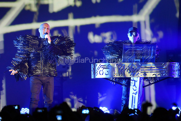 Neil Tennant and Chris Lowe of Pet Shop Boys live in concert at the Tollwood in Munich, 10.07.2013. Photo by Lennox/insight media /MediaPunch Inc. ***FOR USA ONLY***