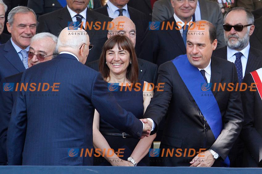 Giorgio Napolitano, Renata Polverini e Nicola Zingaretti.Roma 02/06/2012 Fori Imperiali. Parata Militare in occasione della Festa della Repubblica.Photo Samantha Zucchi Insidefoto