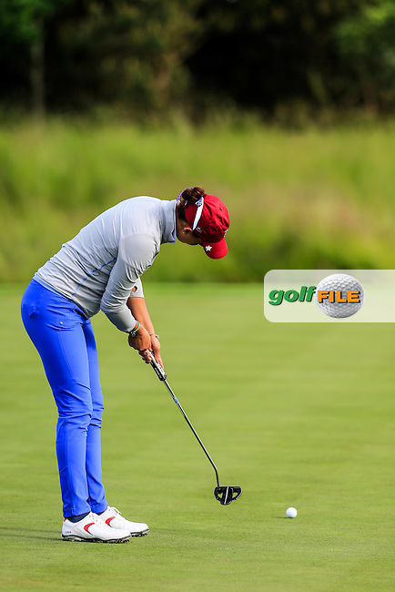 Monica Vaughn during the Saturday afternoon fourballs at the 2016 Curtis cup from Dun Laoghaire Golf Club, Ballyman Rd, Enniskerry, Co. Wicklow, Ireland. 11/06/2016.<br /> Picture Fran Caffrey / Golffile.ie<br /> <br /> All photo usage must carry mandatory copyright credit (&copy; Golffile   Fran Caffrey)