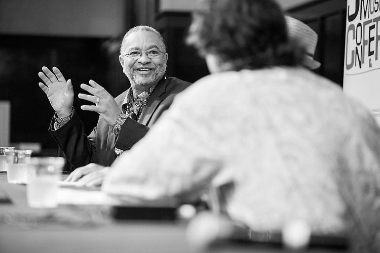 George Porter, Jr speaks at the Ponderosa Stomp Music Conference on October 05, 2017.