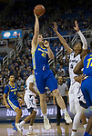San Jose State center Ashtin Chastain (41) shootsover  Nevada forward Jordan Brown (21) in the second half of an NCAA college basketball game in Reno, Nev., Wednesday, Jan. 9, 2019. (AP Photo/Tom R. Smedes)