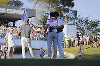 Adri Arnaus (ESP) and Rafa Cabrera Bello (ESP) and Jon Rahm (ESP) on the 18th greenduring the second round of the Mutuactivos Open de Espana, Club de Campo Villa de Madrid, Madrid, Madrid, Spain. 04/10/2019.<br /> Picture Hugo Alcalde / Golffile.ie<br /> <br /> All photo usage must carry mandatory copyright credit (© Golffile | Hugo Alcalde)